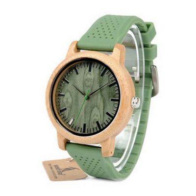 ceas unisex lemn curea verde
