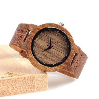 ceas lemn si piele