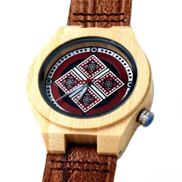 ceas din lemn bratara piele