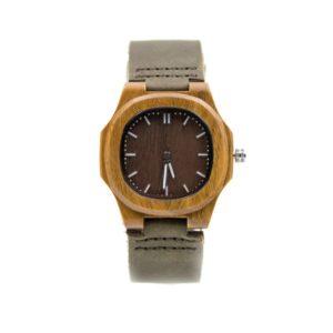 ceas lemn curea piele
