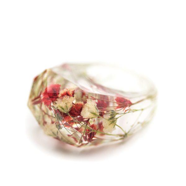inel transparent flori rasina
