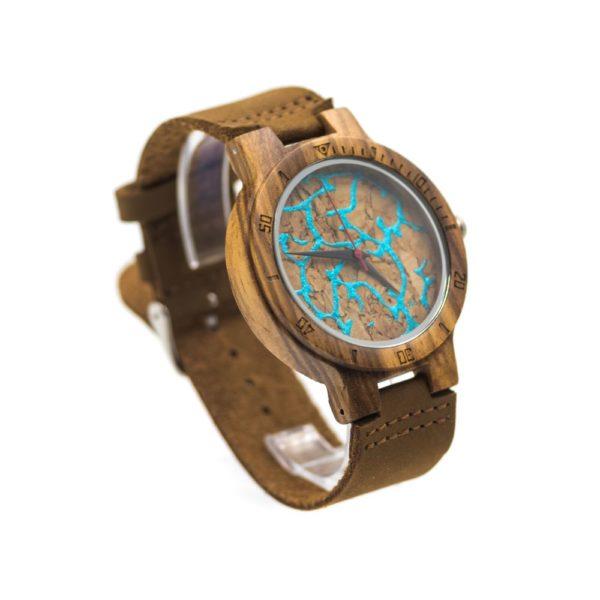 ceas lemn piele