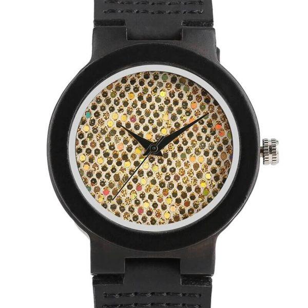 ceas dama negru lemn