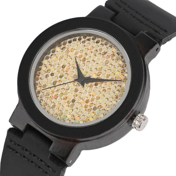 ceas negru carcasa lemn