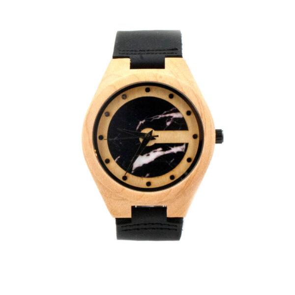 ceas din lemn curea piele