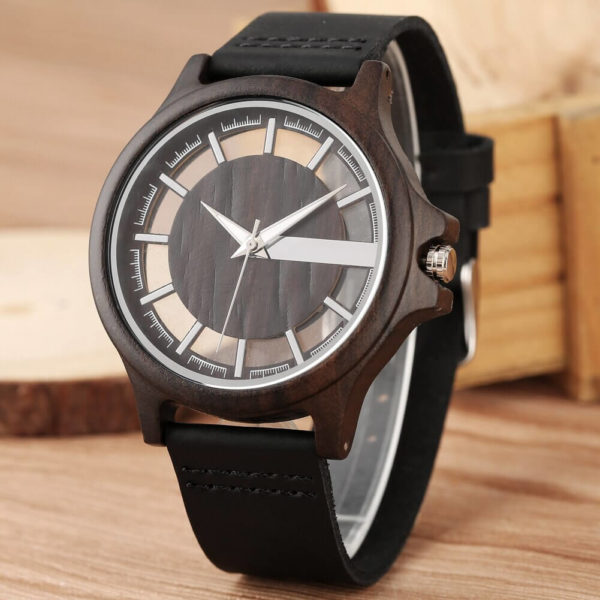 ceas negru lemn bratara piele