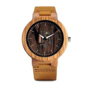 ceas mana lemn curea piele