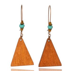 cercei lemn triunghi