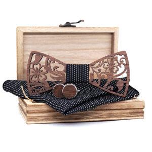 set cadou papion lemn